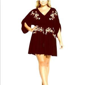 City Chic black floral tunic dress!